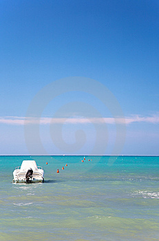 Tropical Sea With Motorboat Royalty Free Stock Photos - Image: 6324448