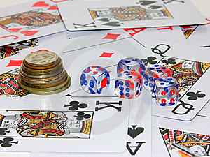 Coins, Playing Bones And Playing Cards Stock Photo - Image: 6326660