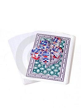 Cartões De Jogo E Jogo Dos Ossos Foto de Stock Royalty Free - Imagem: 6330815