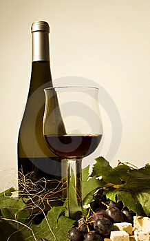 Autumn still life with wine and grapes Royalty Free Stock Photo