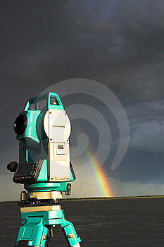 Total Station & Rainbow Royalty Free Stock Photo - Image: 6333295