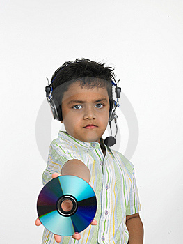 Boy Holding Compact Disc Stock Images - Image: 6341164
