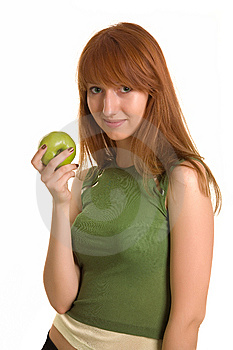 Beautiful Girl With Green Apple Royalty Free Stock Image - Image: 6342376
