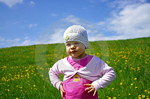 Girl On Grassland Stock Image - Image: 6361261