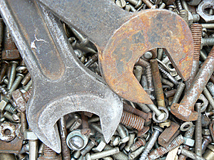Rusty Metal Fasteners And  Two Wrenchs Stock Images - Image: 6363574