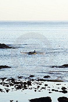 Rowboat Approaching In Pico,  Azores Stock Images - Image: 6372274