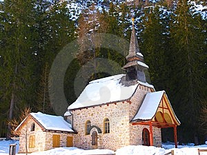 Little Church On The Frozen Lake Royalty Free Stock Images - Image: 6373089