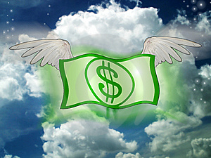 Dollars Fly On Sky Royalty Free Stock Photos - Image: 6374218