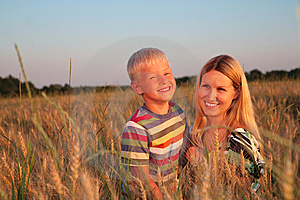 Mother And Son   On Wheaten Field Stock Photos - Image: 6374603
