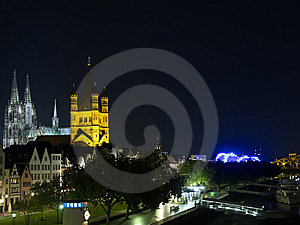 Night Quay In Cologne With Cathedral. Stock Images - Image: 6379544