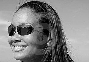 Beautiful Woman On A Blue Sky Stock Photos - Image: 6381403
