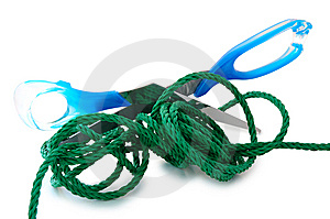 Green Cord And Steel Scissors. Stock Photo - Image: 6384650