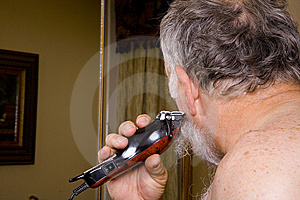 Older Man Cleaning Up His Beard Stock Images - Image: 6384664