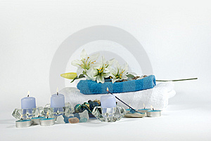 Spa products on white and blue