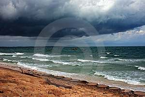 Dark Clouds Over Storming Sea Stock Photography - Image: 6386782