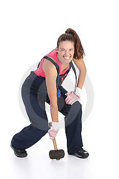 Woman With Black Rubber Mallet Royalty Free Stock Photography - Image: 6388867