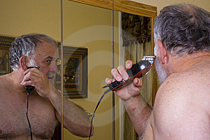 Older Man Trimming His Beard Stock Photos - Image: 6392783