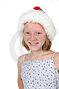 High Key Girl In Santa Hat Royalty Free Stock Images - Image: 6393099