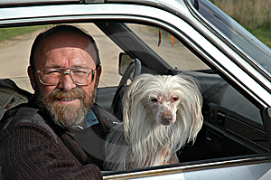 Man with dog in car