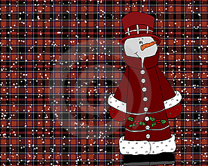 Snowman On Red Plaid Background Royalty Free Stock Photos - Image: 6400808