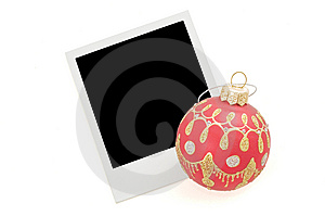 Blank Instant Photo And Red Christmas Ballon Stock Images - Image: 6401264