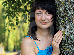 Young Woman Near Birch 01 Stock Photos - Image: 6402293