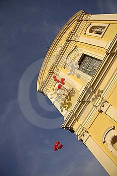 Red And White Balloons Floating Skyward Royalty Free Stock Image - Image: 6404556