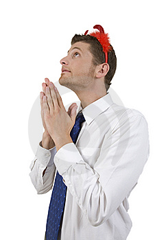 Handsome Man Praying With Devil Horns Stock Photography - Image: 6413052