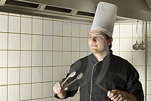 Chef Holding Utencils Stock Images - Image: 6413164