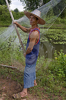 Fisherman With Stave, Asia Royalty Free Stock Photos - Image: 6416398