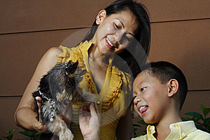 Mother Child And A Puppy Royalty Free Stock Photos - Image: 6419668