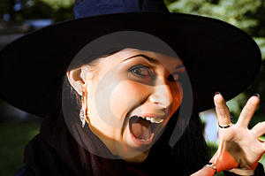 Screaming Witch In Hat Stock Photo - Image: 6426980