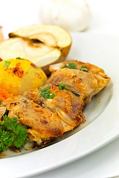 Roasted Chicken With Apple And Fried Potatoes Stock Photography - Image: 6429312