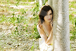 Young Woman Playing Hide And Seek Stock Photo - Image: 6430660