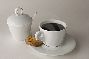 Cup Of Black Coffee With Cookies Stock Images - Image: 6434894
