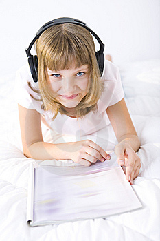 Girl Browsing Journal Stock Photos - Image: 6435803