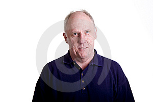 Nice Old Bald Guy Smiling In Blue Shirt Stock Images - Image: 6435884