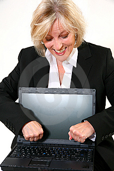 Attractive 40 Something Woman Upset At Laptop Royalty Free Stock Image - Image: 6438396