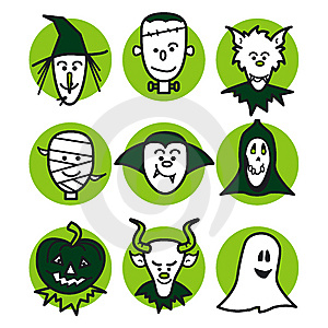 Halloween People Green Royalty Free Stock Image - Image: 6443546