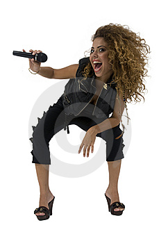 Female Singer Hits High Tones Royalty Free Stock Images - Image: 6445739