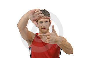 Adult Man Showing Framing Gesture Royalty Free Stock Photography - Image: 6446537