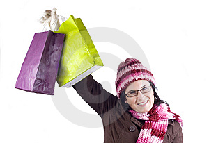 Christmas Shopping Woman Royalty Free Stock Images - Image: 6452479