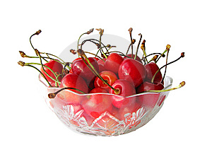 Cherries In Glass Bowl Royalty Free Stock Photos - Image: 6453308