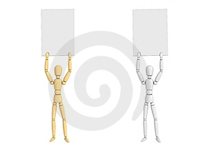 Lay Figure Doll Holding Poster/Pose 4 Royalty Free Stock Image - Image: 6455706