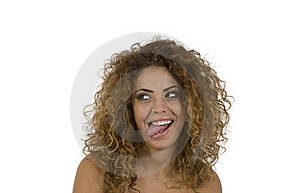 Woman Teasing With Tongue Royalty Free Stock Photography - Image: 6457357