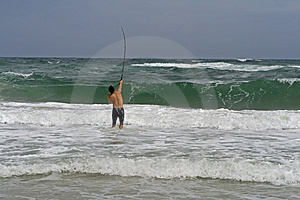 Man Surf Fishing Stock Images - Image: 6459104