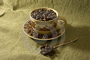 Coffee Beans In The Cup Royalty Free Stock Image - Image: 6459806