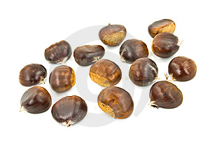 Many Ripe Chestnuts - Isolated On White Background Stock Photo - Image: 6471610