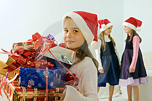 Three Little Girls With Christmas Presents Royalty Free Stock Photos - Image: 6473748