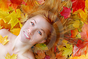 Sensuality Girl In Leafs Stock Image - Image: 6476541